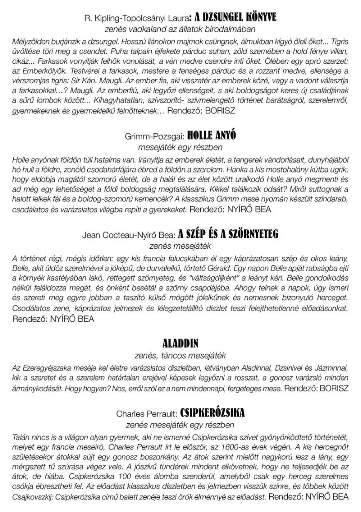 Színházbérlet gyerekeknek 2014-15 SZINOPSZISOK